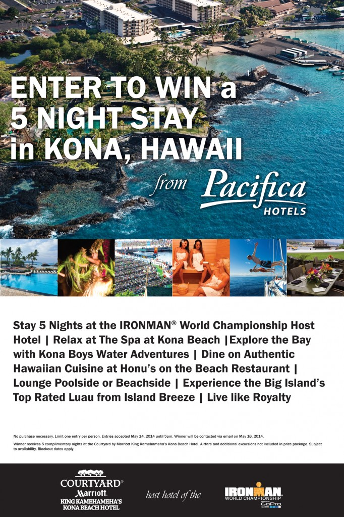 Win a 5 Night Stay in Kona. Visit the Pacifica Hotels booth at the Stage 4 Lifestyle Festival.